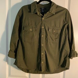 Forever21 Army Green Button Down Shirt